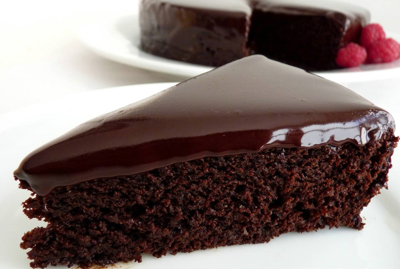 Eggless Chocolate Cake (with Silky Chocolate Ganache)