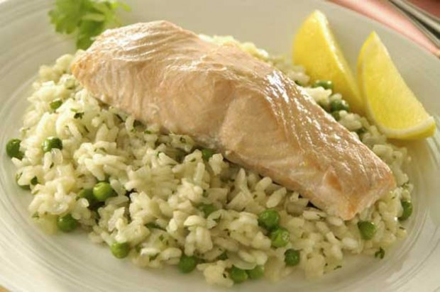 Pan-fried Salmon with Herb Risotto